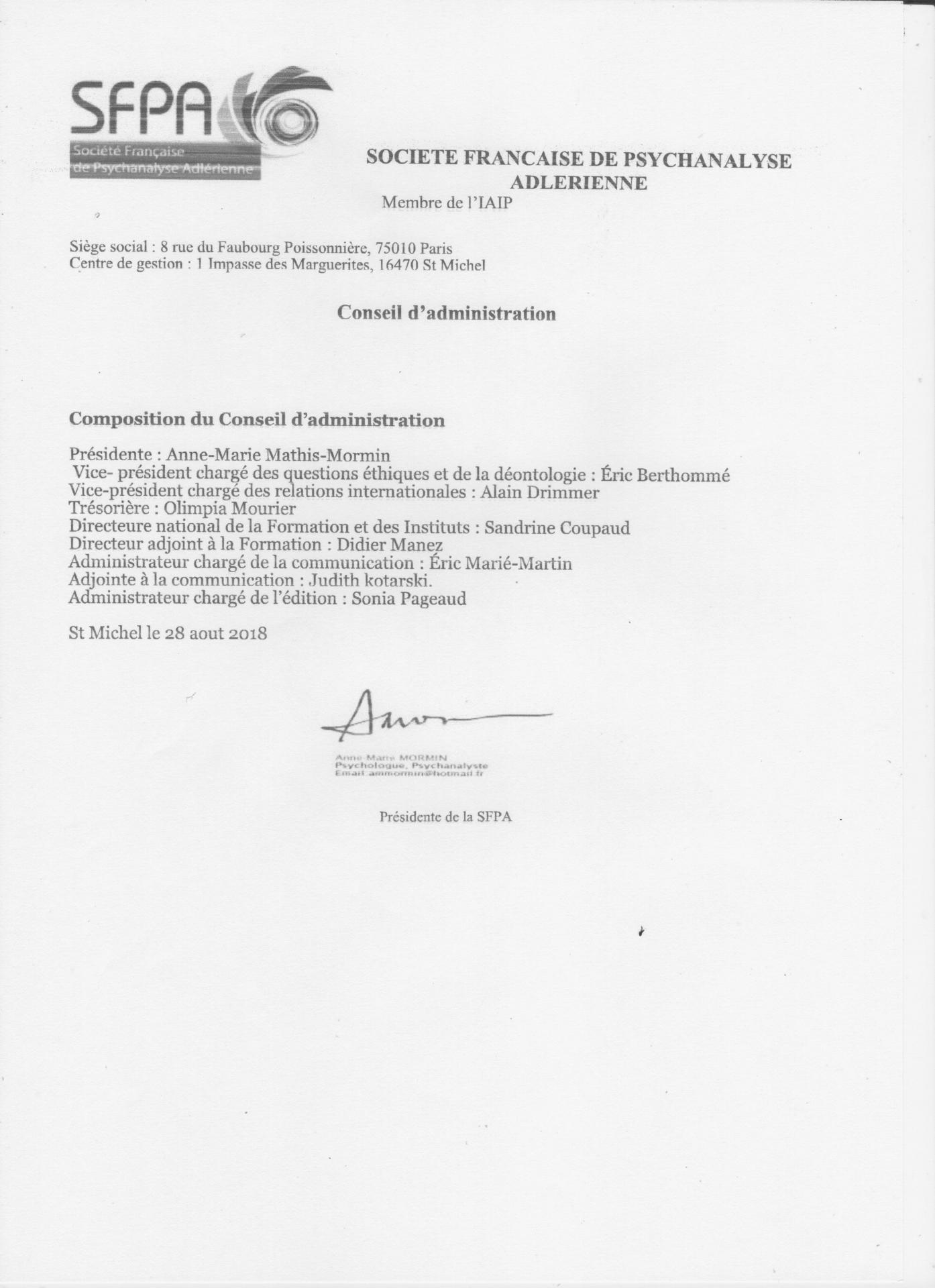 Composition du conseil d administration sfpa 001